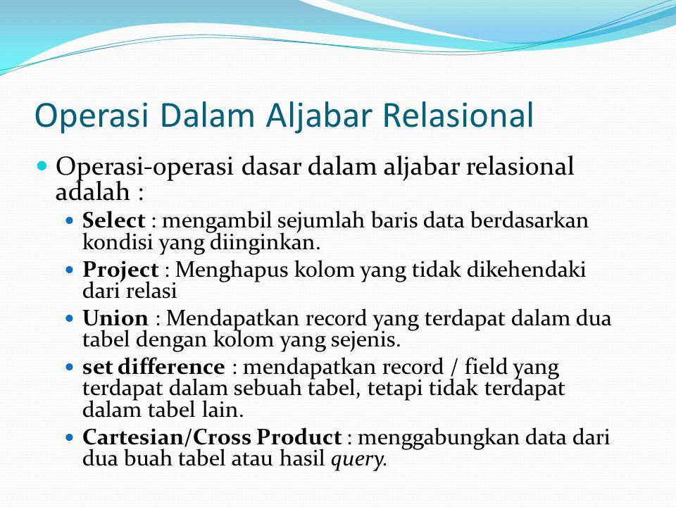 Operasi Dalam Aljabar Relasional  Operasi-operasi dasar dalam aljabar relasional adalah :  Select : mengambil sejumlah baris data berdasarkan kondisi yang diinginkan.