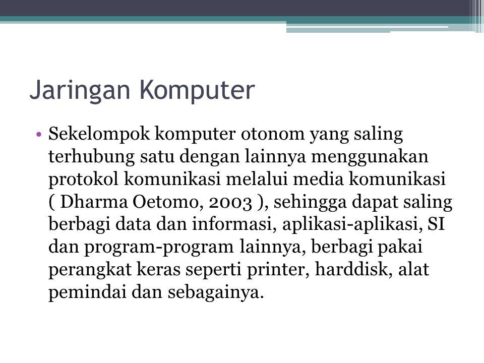 Jaringan Komputer •Sekelompok komputer otonom yang saling terhubung satu dengan lainnya menggunakan protokol komunikasi melalui media komunikasi ( Dha