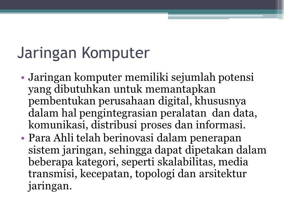 Jaringan Komputer •Jaringan komputer memiliki sejumlah potensi yang dibutuhkan untuk memantapkan pembentukan perusahaan digital, khususnya dalam hal pengintegrasian peralatan dan data, komunikasi, distribusi proses dan informasi.
