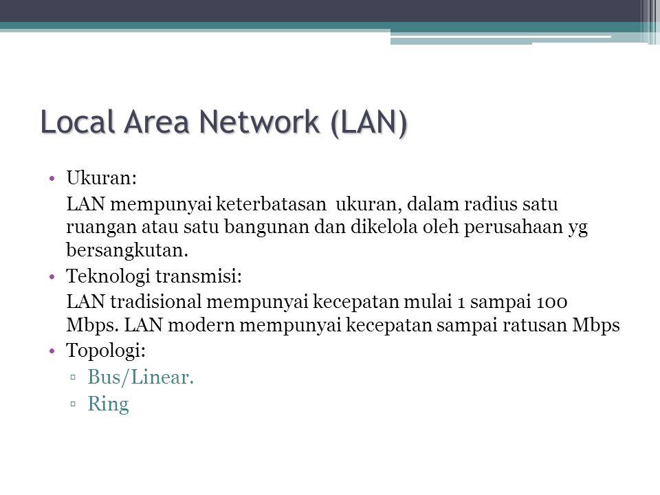 Local Area Network (LAN) •Ukuran: LAN mempunyai keterbatasan ukuran, dalam radius satu ruangan atau satu bangunan dan dikelola oleh perusahaan yg bersangkutan.