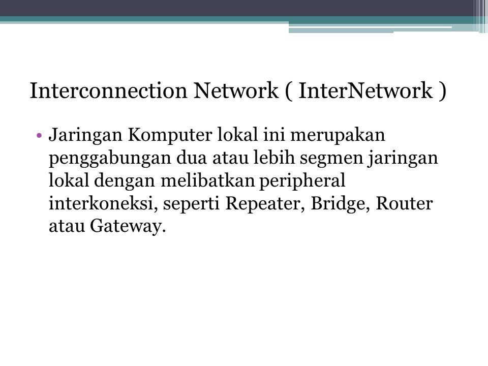 Interconnection Network ( InterNetwork ) •Jaringan Komputer lokal ini merupakan penggabungan dua atau lebih segmen jaringan lokal dengan melibatkan peripheral interkoneksi, seperti Repeater, Bridge, Router atau Gateway.
