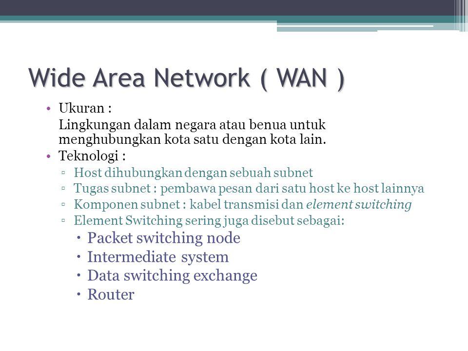 Wide Area Network ( WAN ) •Ukuran : Lingkungan dalam negara atau benua untuk menghubungkan kota satu dengan kota lain. •Teknologi : ▫Host dihubungkan