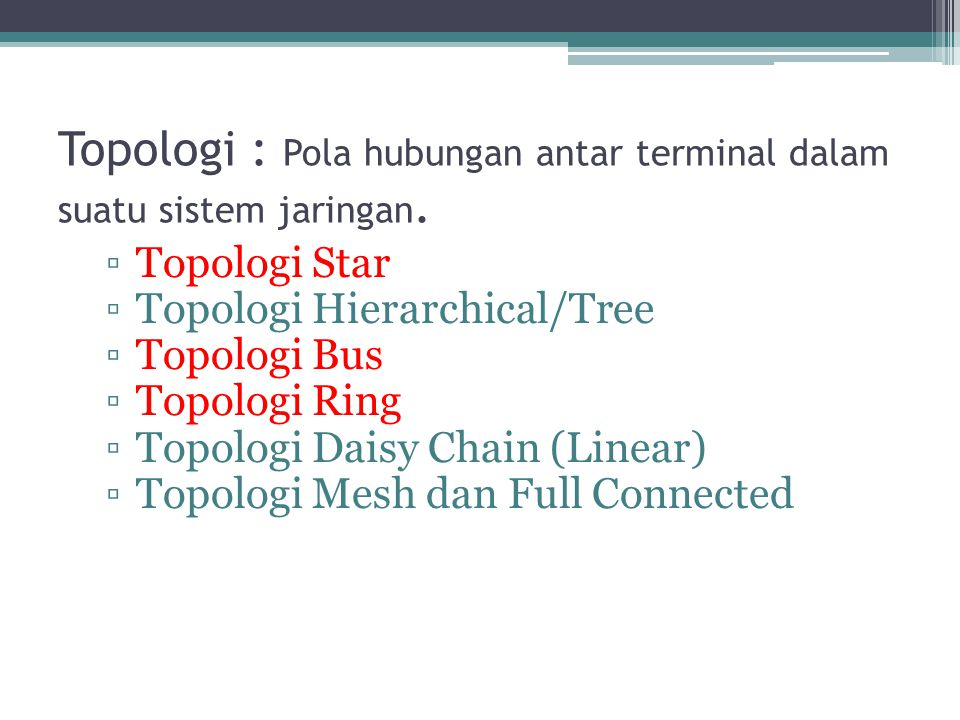 Topologi : Pola hubungan antar terminal dalam suatu sistem jaringan. ▫Topologi Star ▫Topologi Hierarchical/Tree ▫Topologi Bus ▫Topologi Ring ▫Topologi