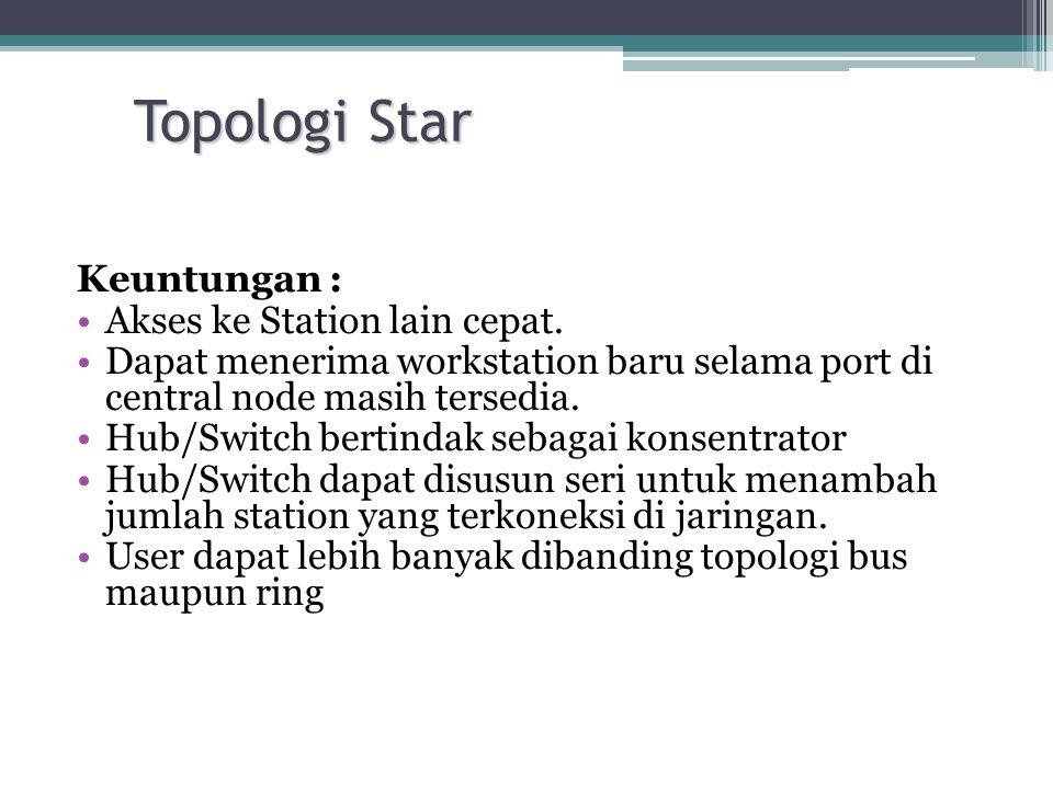Topologi Star Keuntungan : •Akses ke Station lain cepat. •Dapat menerima workstation baru selama port di central node masih tersedia. •Hub/Switch bert