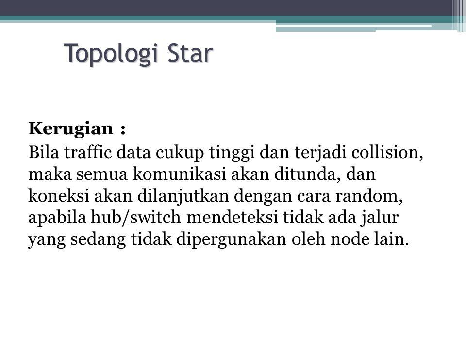 Topologi Star Kerugian : Bila traffic data cukup tinggi dan terjadi collision, maka semua komunikasi akan ditunda, dan koneksi akan dilanjutkan dengan
