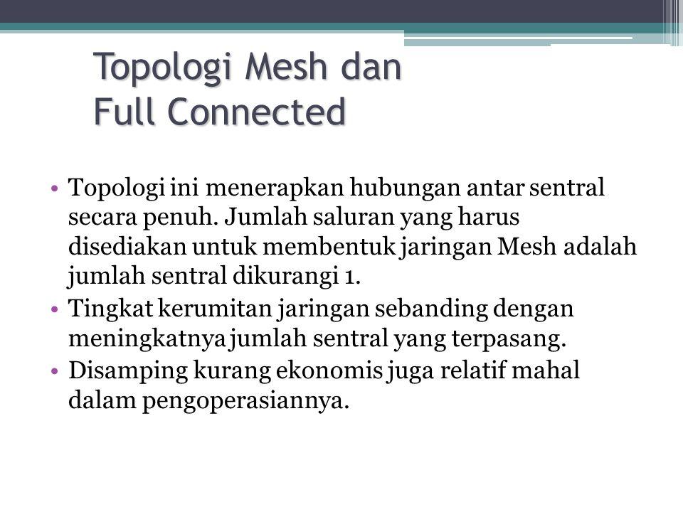 •Topologi ini menerapkan hubungan antar sentral secara penuh. Jumlah saluran yang harus disediakan untuk membentuk jaringan Mesh adalah jumlah sentral