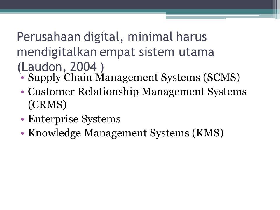 Perusahaan digital, minimal harus mendigitalkan empat sistem utama (Laudon, 2004 ) •Supply Chain Management Systems (SCMS) •Customer Relationship Management Systems (CRMS) •Enterprise Systems •Knowledge Management Systems (KMS)