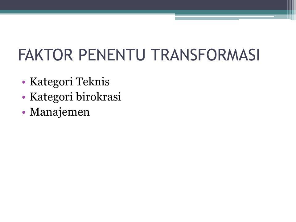 FAKTOR PENENTU TRANSFORMASI •Kategori Teknis •Kategori birokrasi •Manajemen