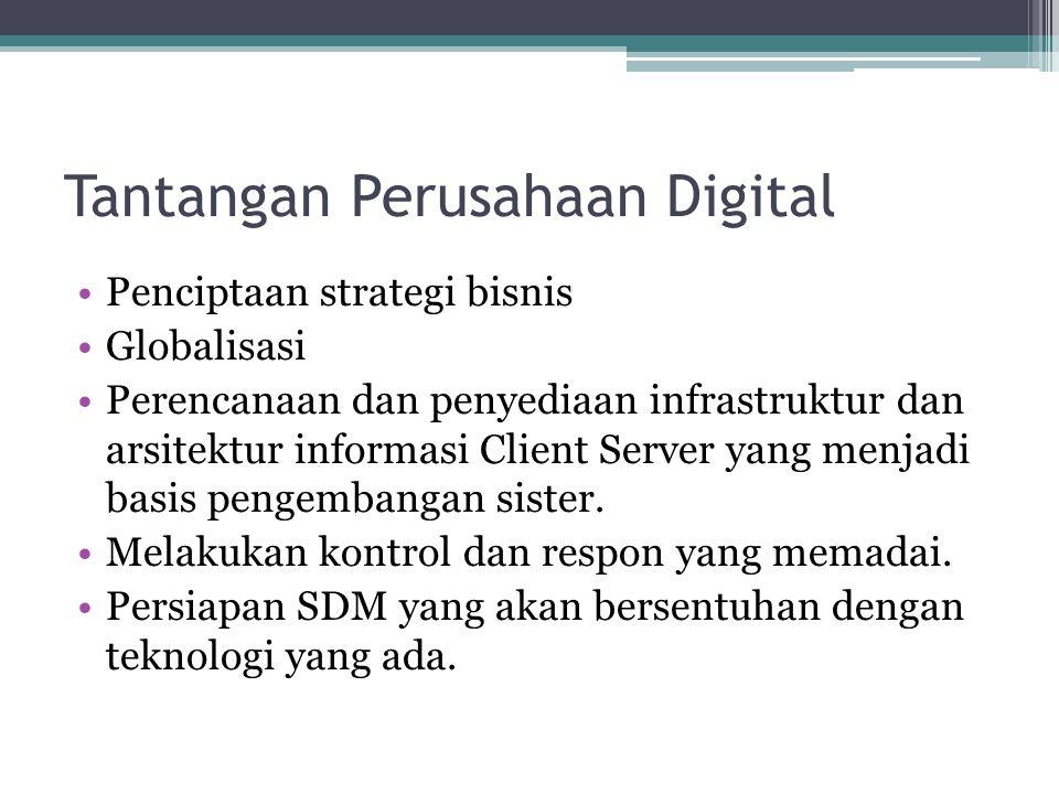 Tantangan Perusahaan Digital •Penciptaan strategi bisnis •Globalisasi •Perencanaan dan penyediaan infrastruktur dan arsitektur informasi Client Server yang menjadi basis pengembangan sister.