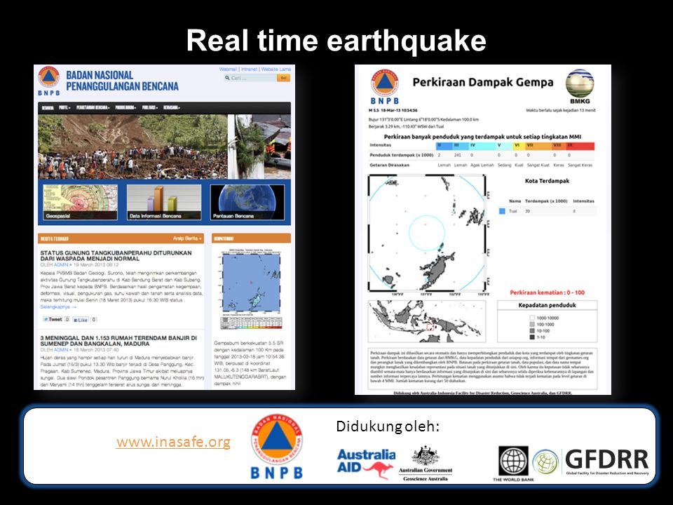 Real time earthquake www.inasafe.org Didukung oleh: