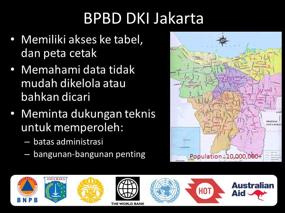 BPBD DKI Jakarta • Memiliki akses ke tabel, dan peta cetak • Memahami data tidak mudah dikelola atau bahkan dicari • Meminta dukungan teknis untuk mem
