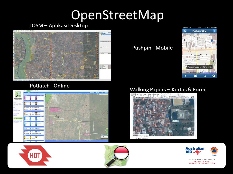 OpenStreetMap JOSM – Aplikasi Desktop Potlatch - Online Pushpin - Mobile Walking Papers – Kertas & Form