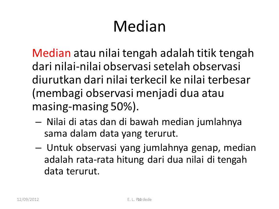 11 Median Median atau nilai tengah adalah titik tengah dari nilai-nilai observasi setelah observasi diurutkan dari nilai terkecil ke nilai terbesar (membagi observasi menjadi dua atau masing-masing 50%).