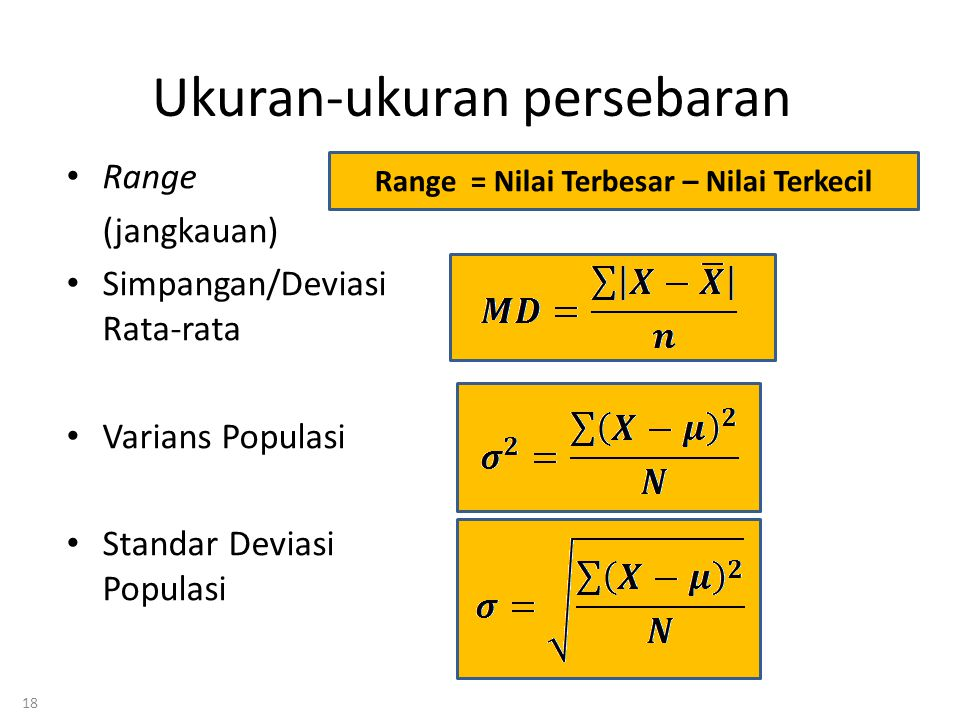18 Ukuran-ukuran persebaran • Range (jangkauan) • Simpangan/Deviasi Rata-rata • Varians Populasi • Standar Deviasi Populasi Range = Nilai Terbesar – Nilai Terkecil