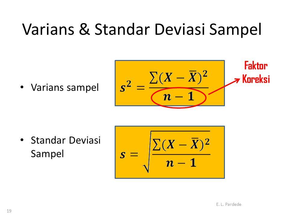 19 Varians & Standar Deviasi Sampel • Varians sampel • Standar Deviasi Sampel E.