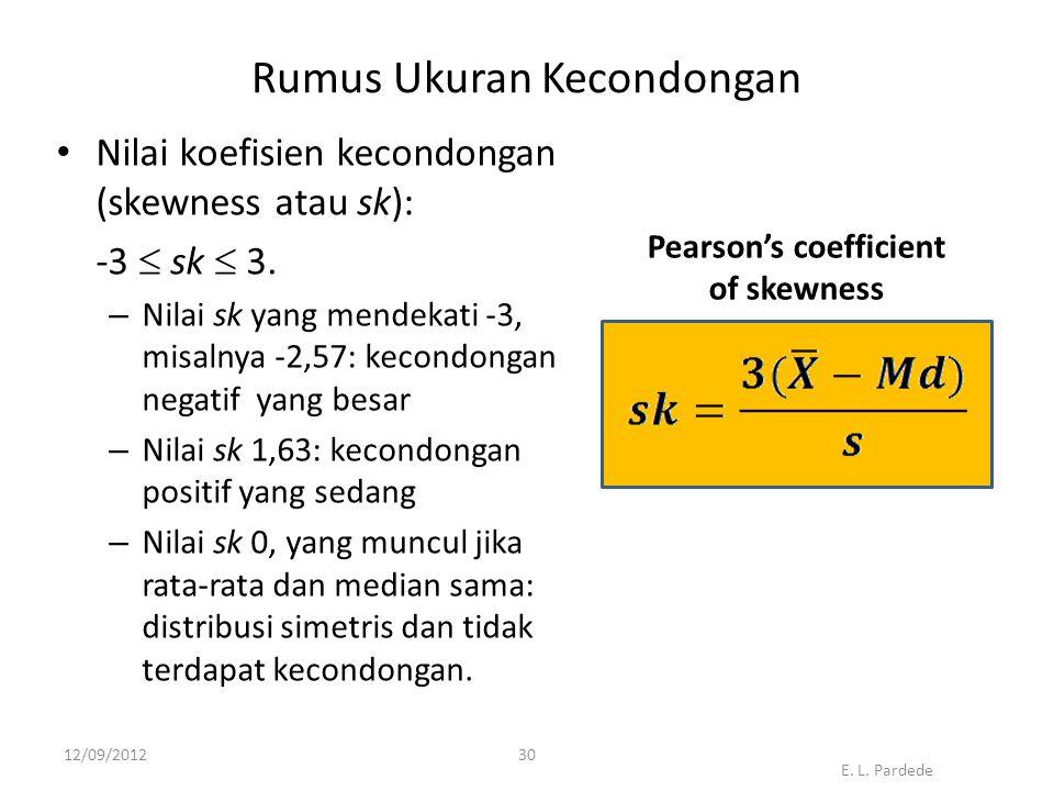 30 Rumus Ukuran Kecondongan • Nilai koefisien kecondongan (skewness atau sk): -3  sk  3.