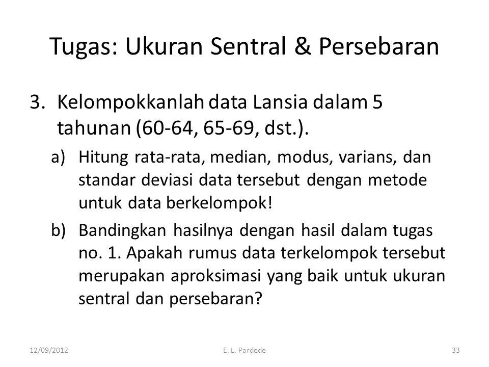 Tugas: Ukuran Sentral & Persebaran 3.Kelompokkanlah data Lansia dalam 5 tahunan (60-64, 65-69, dst.).