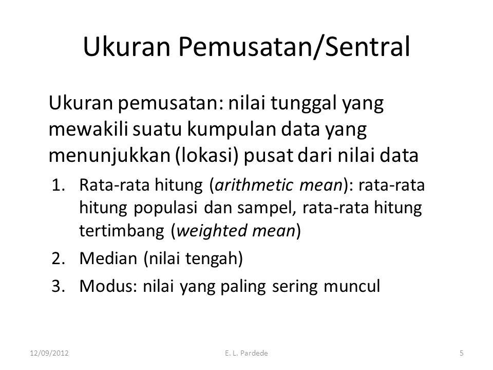 Ukuran Pemusatan/Sentral Ukuran pemusatan: nilai tunggal yang mewakili suatu kumpulan data yang menunjukkan (lokasi) pusat dari nilai data 1.Rata-rata hitung (arithmetic mean): rata-rata hitung populasi dan sampel, rata-rata hitung tertimbang (weighted mean) 2.Median (nilai tengah) 3.Modus: nilai yang paling sering muncul 12/09/2012E.