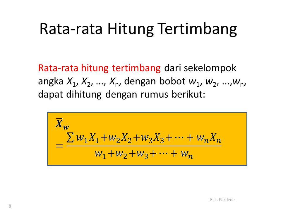 8 Rata-rata Hitung Tertimbang Rata-rata hitung tertimbang dari sekelompok angka X 1, X 2,..., X n, dengan bobot w 1, w 2,...,w n, dapat dihitung dengan rumus berikut: E.