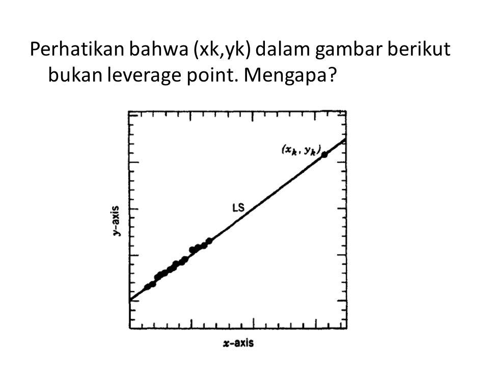 Perhatikan bahwa (xk,yk) dalam gambar berikut bukan leverage point. Mengapa?