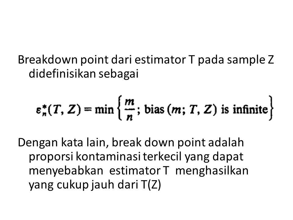 Breakdown point dari estimator T pada sample Z didefinisikan sebagai Dengan kata lain, break down point adalah proporsi kontaminasi terkecil yang dapa