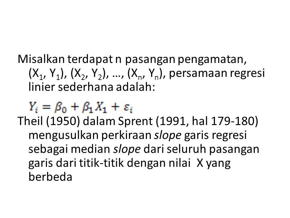 Misalkan terdapat n pasangan pengamatan, (X 1, Y 1 ), (X 2, Y 2 ), …, (X n, Y n ), persamaan regresi linier sederhana adalah: Theil (1950) dalam Spren