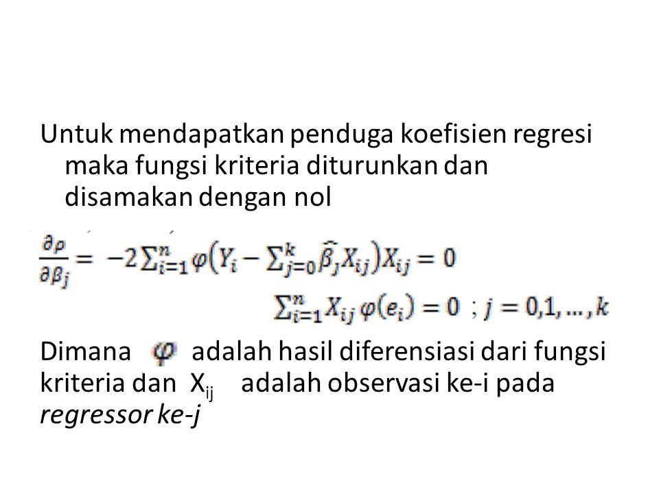 Untuk mendapatkan penduga koefisien regresi maka fungsi kriteria diturunkan dan disamakan dengan nol Dimana adalah hasil diferensiasi dari fungsi krit
