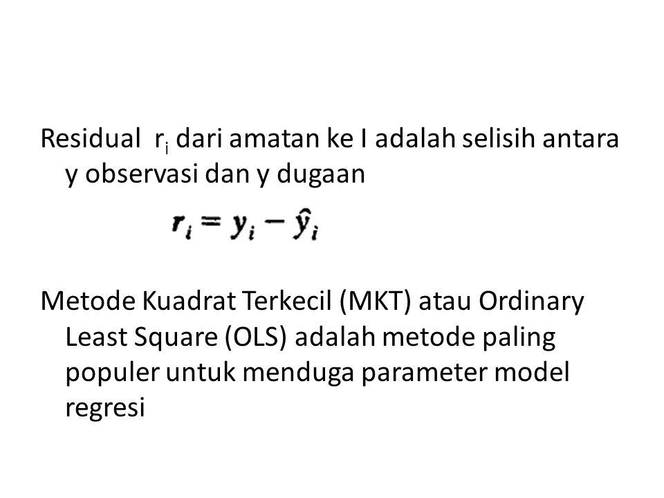 Residual r i dari amatan ke I adalah selisih antara y observasi dan y dugaan Metode Kuadrat Terkecil (MKT) atau Ordinary Least Square (OLS) adalah met