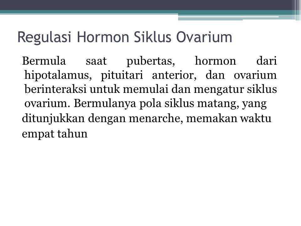 Regulasi Hormon Siklus Ovarium Bermula saat pubertas, hormon dari hipotalamus, pituitari anterior, dan ovarium berinteraksi untuk memulai dan mengatur