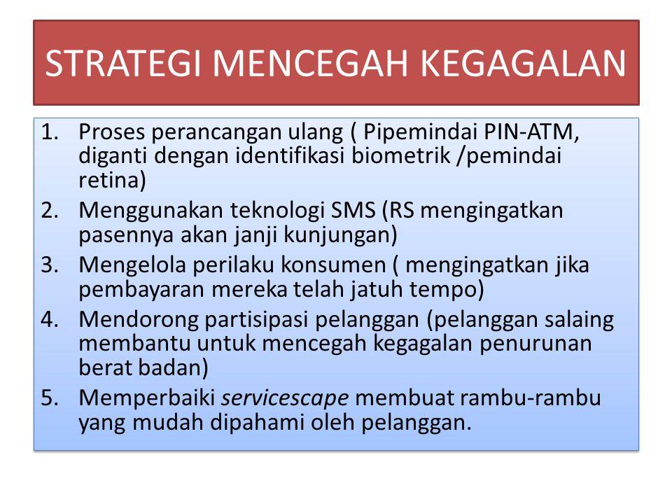 STRATEGI MENCEGAH KEGAGALAN 1.Proses perancangan ulang ( Pipemindai PIN-ATM, diganti dengan identifikasi biometrik /pemindai retina) 2.Menggunakan tek