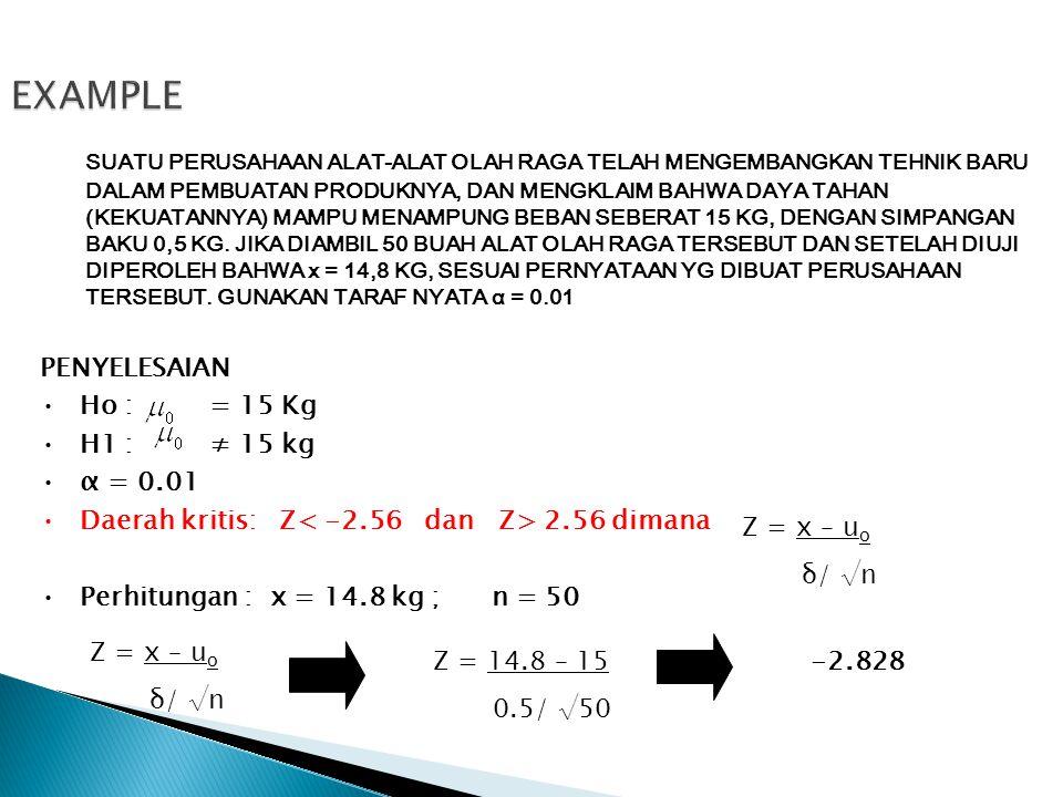 EXAMPLE PENYELESAIAN •Ho : = 15 Kg •H1 : ≠ 15 kg •α = 0.01 •Daerah kritis: Z 2.56 dimana •Perhitungan : x = 14.8 kg ; n = 50 Z = x – u o δ/ √n Z = x –