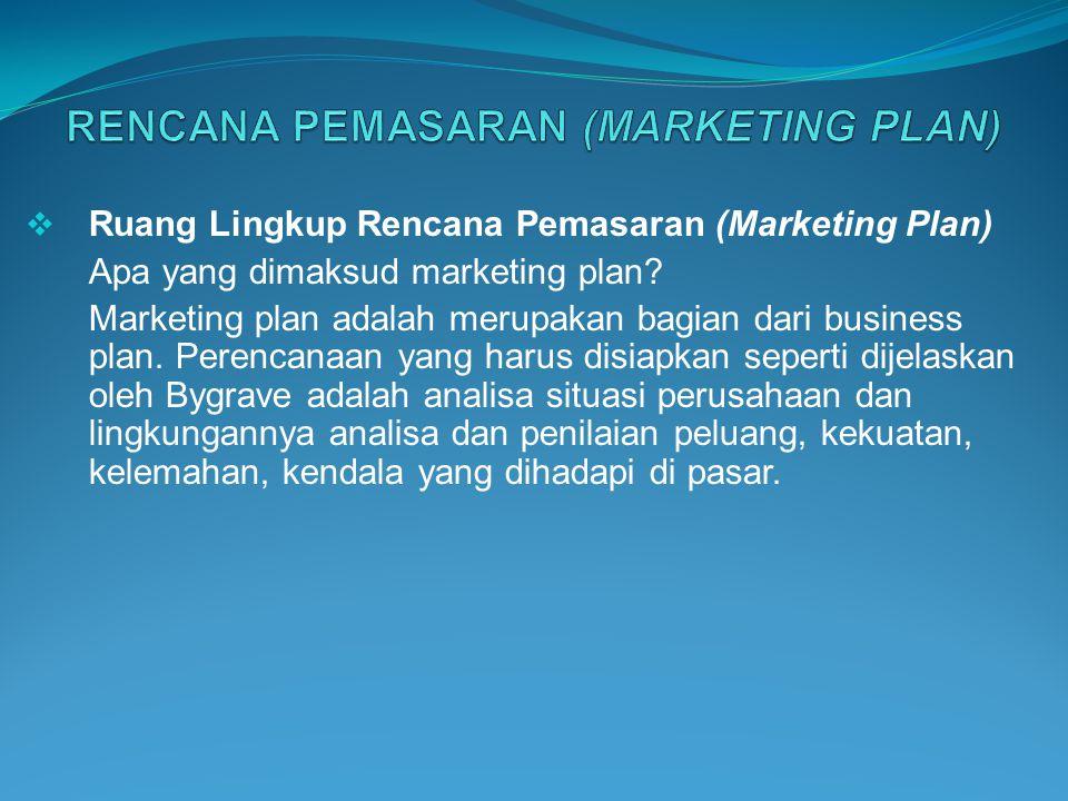  Ruang Lingkup Rencana Pemasaran (Marketing Plan) Apa yang dimaksud marketing plan? Marketing plan adalah merupakan bagian dari business plan. Perenc