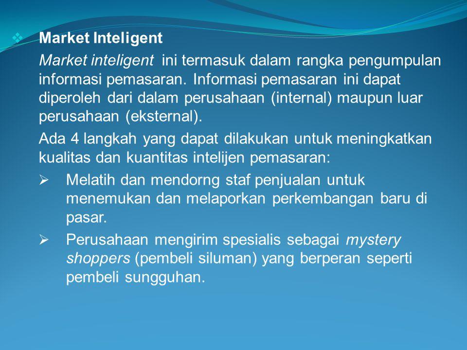  Market Inteligent Market inteligent ini termasuk dalam rangka pengumpulan informasi pemasaran. Informasi pemasaran ini dapat diperoleh dari dalam pe