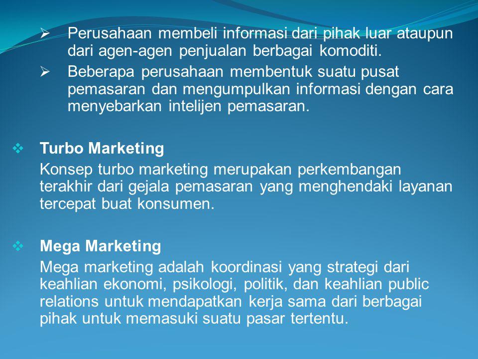  Perusahaan membeli informasi dari pihak luar ataupun dari agen-agen penjualan berbagai komoditi.  Beberapa perusahaan membentuk suatu pusat pemasar