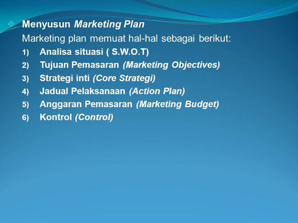  Menyusun Marketing Plan Marketing plan memuat hal-hal sebagai berikut: 1) Analisa situasi ( S.W.O.T) 2) Tujuan Pemasaran (Marketing Objectives) 3) S