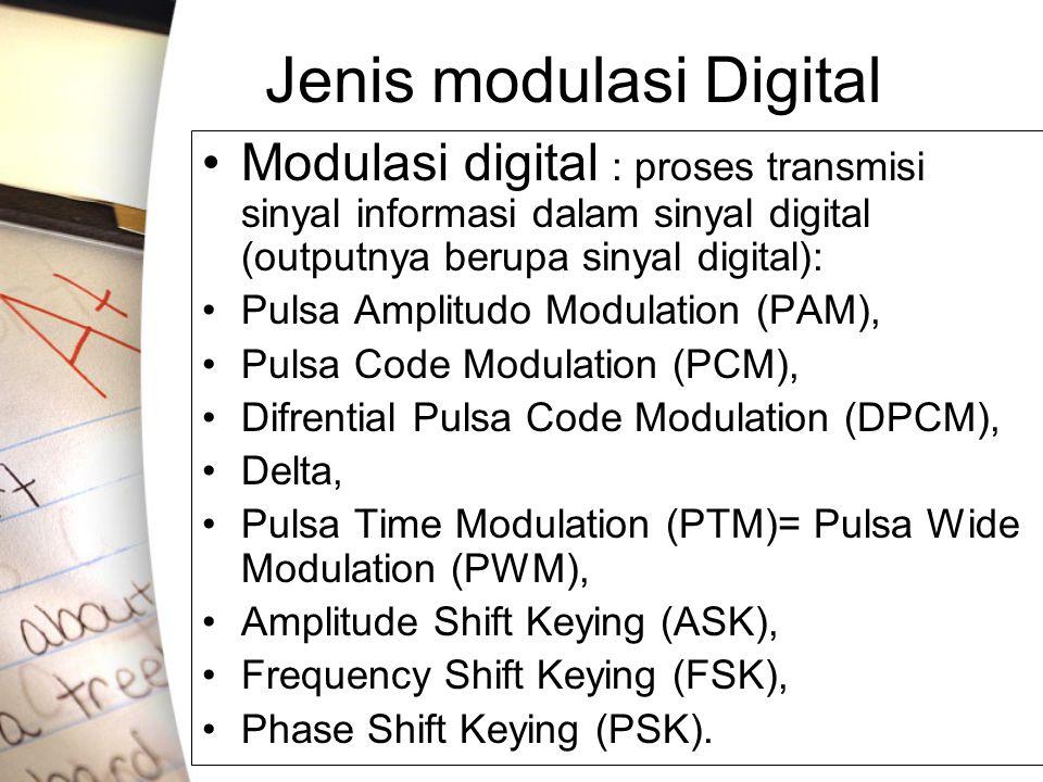 Jenis modulasi Digital •Modulasi digital : proses transmisi sinyal informasi dalam sinyal digital (outputnya berupa sinyal digital): •Pulsa Amplitudo