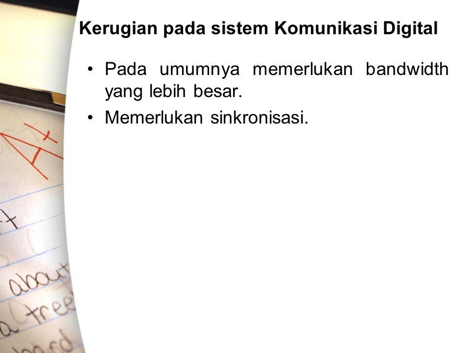 Kerugian pada sistem Komunikasi Digital •Pada umumnya memerlukan bandwidth yang lebih besar. •Memerlukan sinkronisasi.