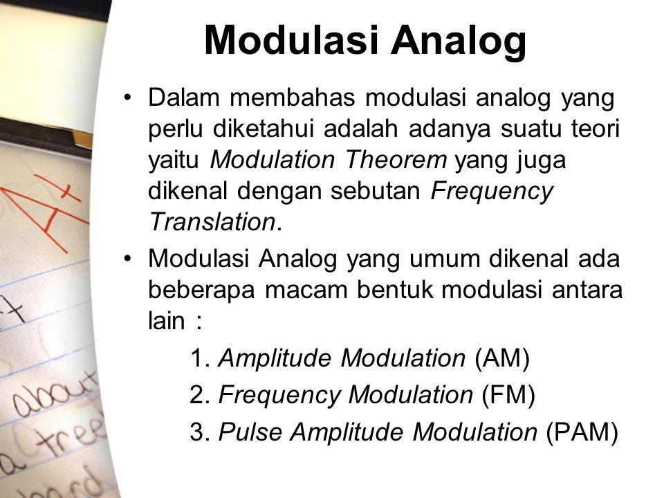Modulasi Analog •Dalam membahas modulasi analog yang perlu diketahui adalah adanya suatu teori yaitu Modulation Theorem yang juga dikenal dengan sebut