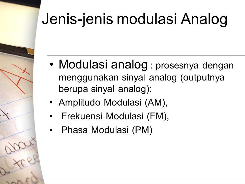 Jenis-jenis modulasi Analog •Modulasi analog : prosesnya dengan menggunakan sinyal analog (outputnya berupa sinyal analog): •Amplitudo Modulasi (AM),