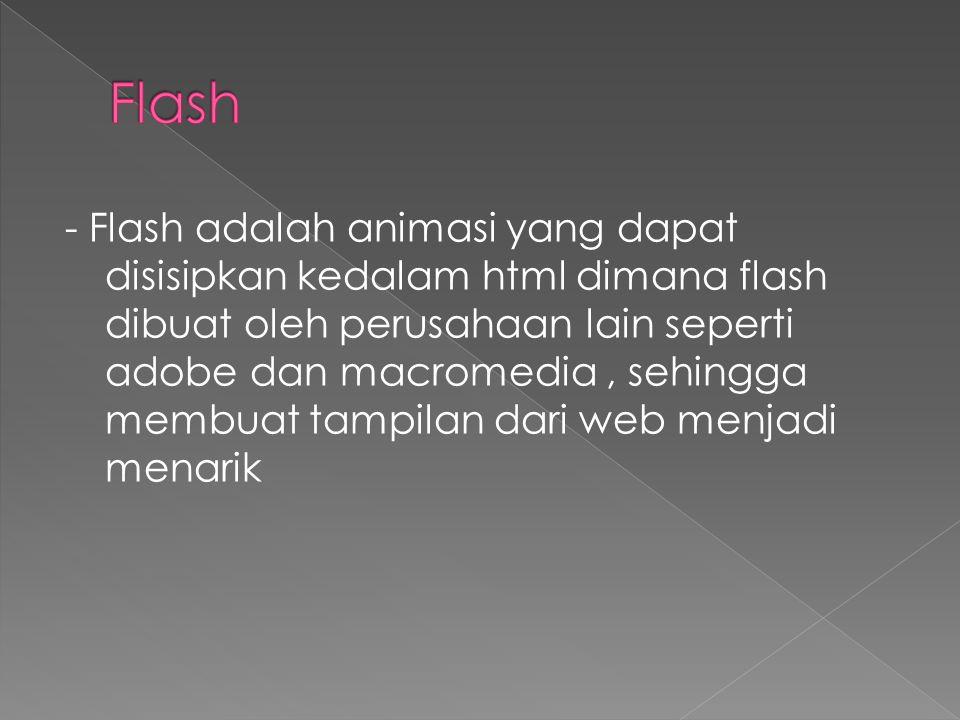 - Flash adalah animasi yang dapat disisipkan kedalam html dimana flash dibuat oleh perusahaan lain seperti adobe dan macromedia, sehingga membuat tampilan dari web menjadi menarik