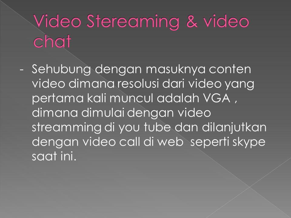 - Sehubung dengan masuknya conten video dimana resolusi dari video yang pertama kali muncul adalah VGA, dimana dimulai dengan video streamming di you tube dan dilanjutkan dengan video call di web seperti skype saat ini.