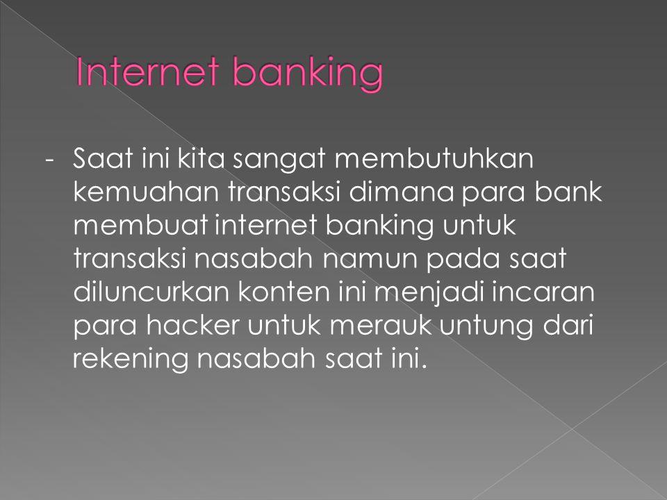 - Saat ini kita sangat membutuhkan kemuahan transaksi dimana para bank membuat internet banking untuk transaksi nasabah namun pada saat diluncurkan konten ini menjadi incaran para hacker untuk merauk untung dari rekening nasabah saat ini.