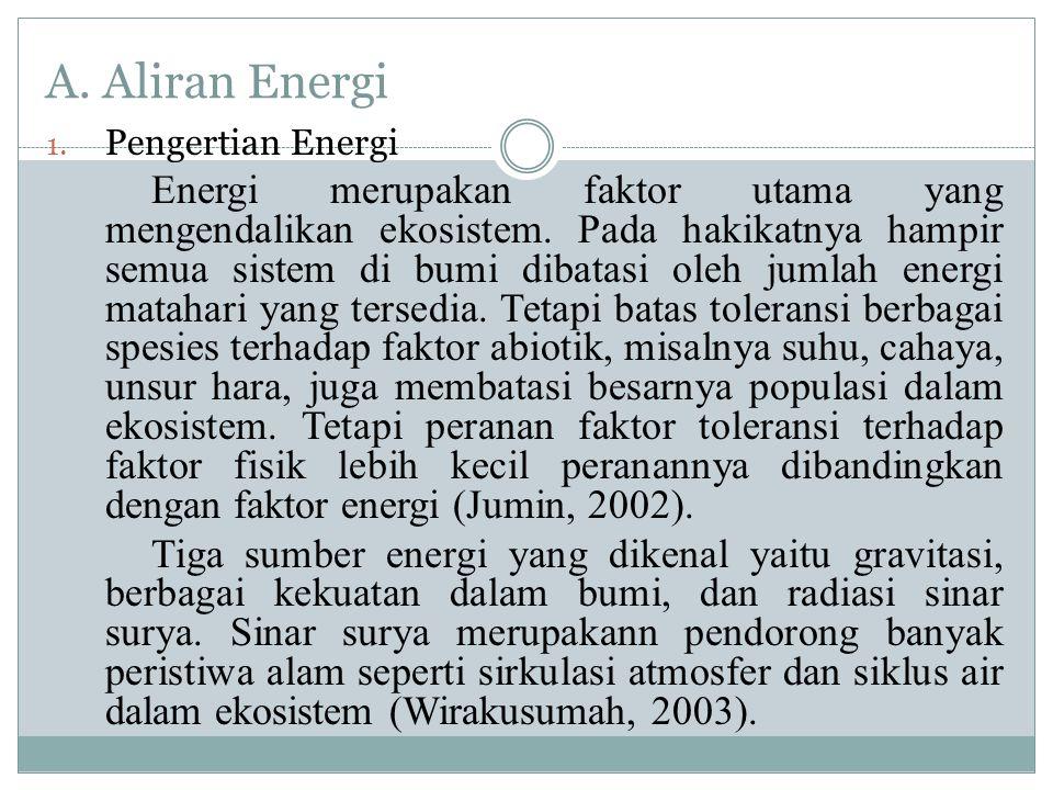 A.Aliran Energi 1. Pengertian Energi Energi merupakan faktor utama yang mengendalikan ekosistem.