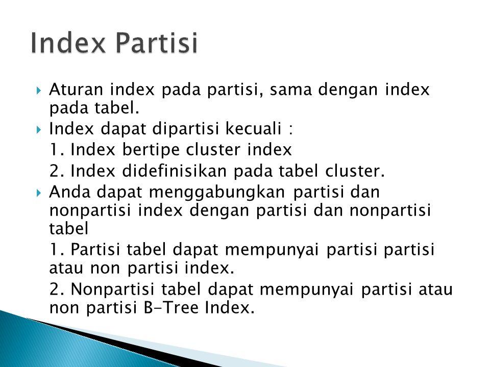  Aturan index pada partisi, sama dengan index pada tabel.  Index dapat dipartisi kecuali : 1. Index bertipe cluster index 2. Index didefinisikan pad