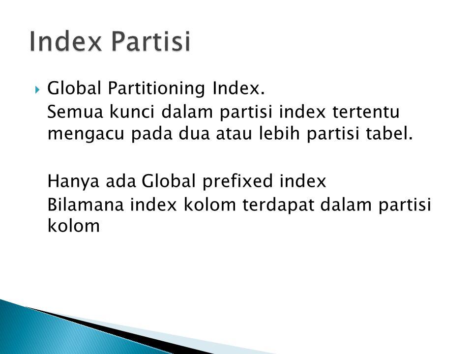  Global Partitioning Index. Semua kunci dalam partisi index tertentu mengacu pada dua atau lebih partisi tabel. Hanya ada Global prefixed index Bilam