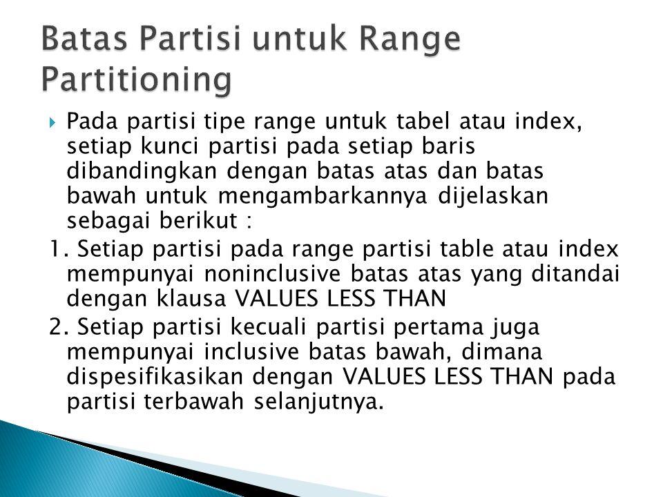  Pada partisi tipe range untuk tabel atau index, setiap kunci partisi pada setiap baris dibandingkan dengan batas atas dan batas bawah untuk mengambarkannya dijelaskan sebagai berikut : 1.