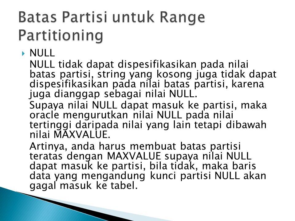  NULL NULL tidak dapat dispesifikasikan pada nilai batas partisi, string yang kosong juga tidak dapat dispesifikasikan pada nilai batas partisi, karena juga dianggap sebagai nilai NULL.