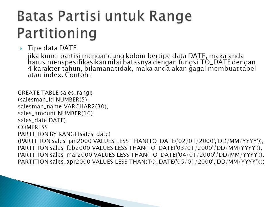  Tipe data DATE jika kunci partisi mengandung kolom bertipe data DATE, maka anda harus menspesifikasikan nilai batasnya dengan fungsi TO_DATE dengan 4 karakter tahun, bilamana tidak, maka anda akan gagal membuat tabel atau index.