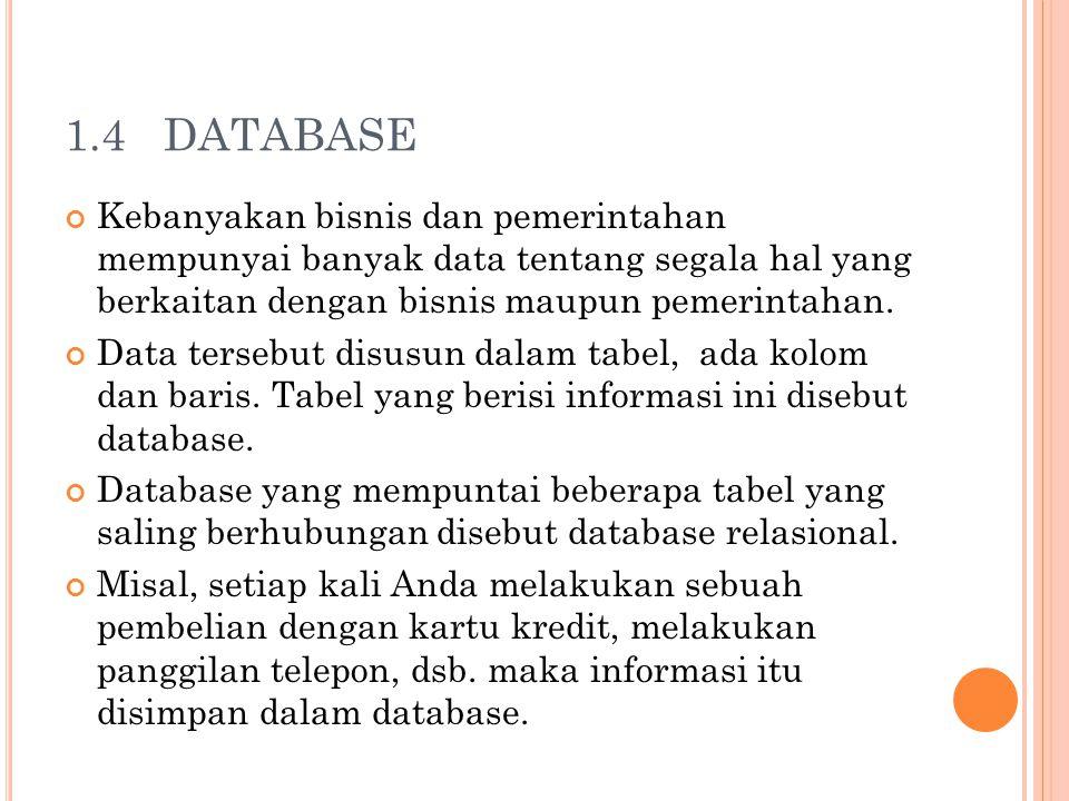 1.4 DATABASE Kebanyakan bisnis dan pemerintahan mempunyai banyak data tentang segala hal yang berkaitan dengan bisnis maupun pemerintahan. Data terseb