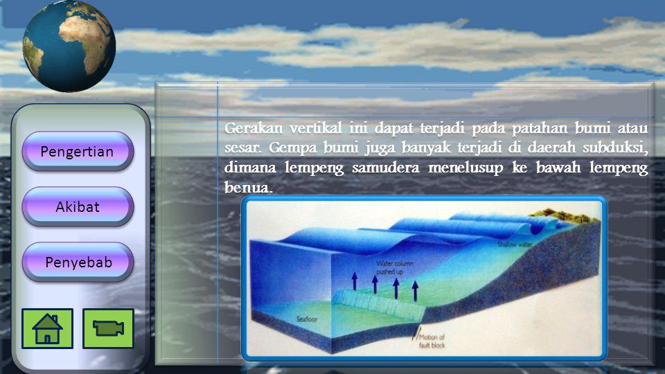 Gerakan vertikal ini dapat terjadi pada patahan bumi atau sesar. Gempa bumi juga banyak terjadi di daerah subduksi, dimana lempeng samudera menelusup